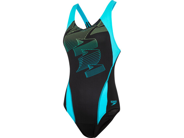 speedo Boom Placement Racerback Uimapuku Naiset, black/aquasplash/bright zest